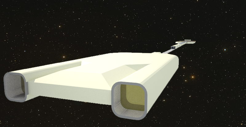 Rear view of Celtic Conveyor Interplanetary Freighter